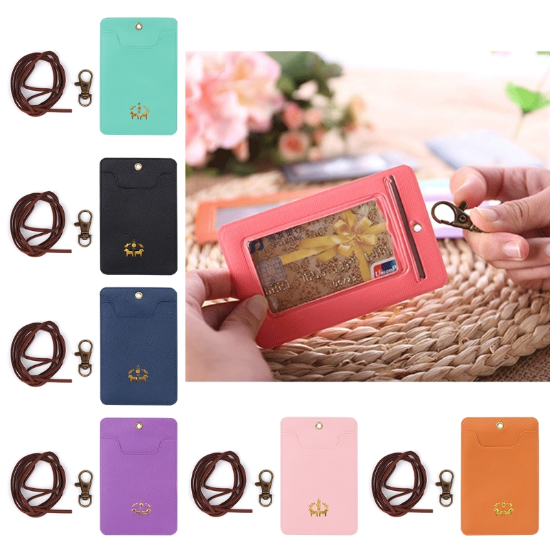 Cute Faux leather+Metal Credit Card Holder Keyring Key Chain Sleeve Set Bus Card Case Ba ...