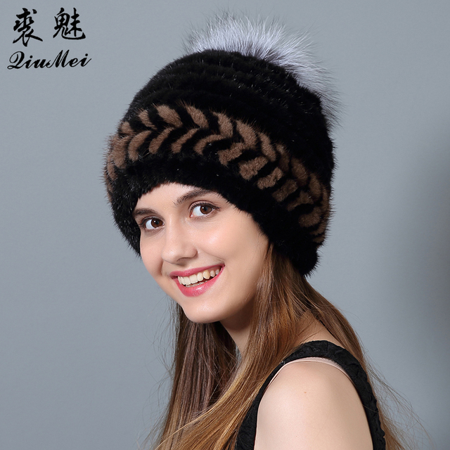 b54742d7b48 QiuMei Female Hats Natural Mink Fur New Beanies Hat Striped Genuine Fur  Thick Knitted Lining Fox