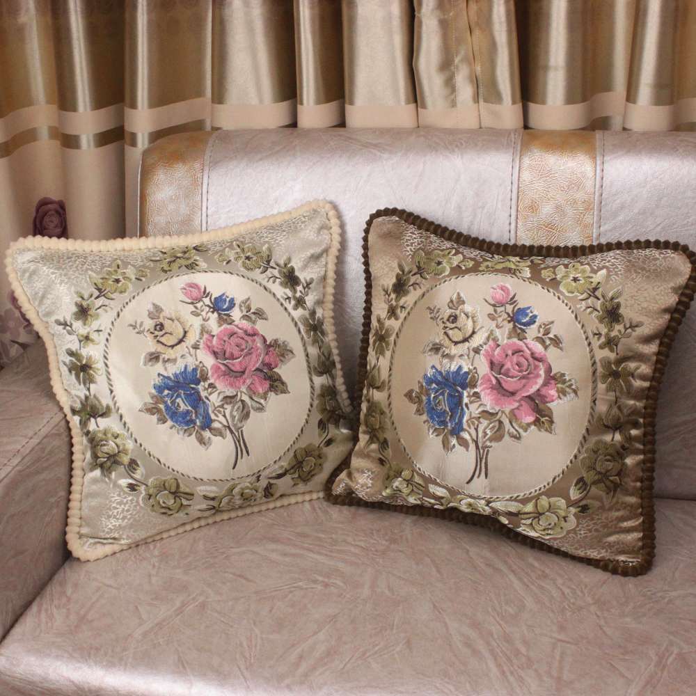 Curcya vintage jacquard flower sofa cushion covers classic home decorative throw pillow cover royal elegant handmade