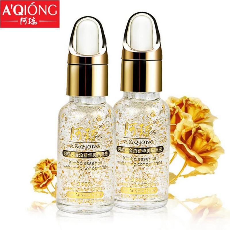 Aqiong 24k Pure Gold Foil Essence Face Skin Care Serum Lift Firming Ageless Anti Wrinkle Anti-redness Moisturizer Face Day Cream
