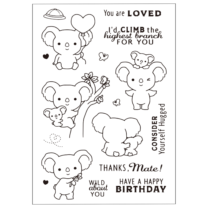 Lovely Pet Koala Clear Silicone Rubber Stamp for DIY Scrapbooking/photo Album Decorative Craft Clear Stamp Chapter lovely bear and star design clear transparent stamp rubber stamp for diy scrapbooking paper card photo album decor cc 037