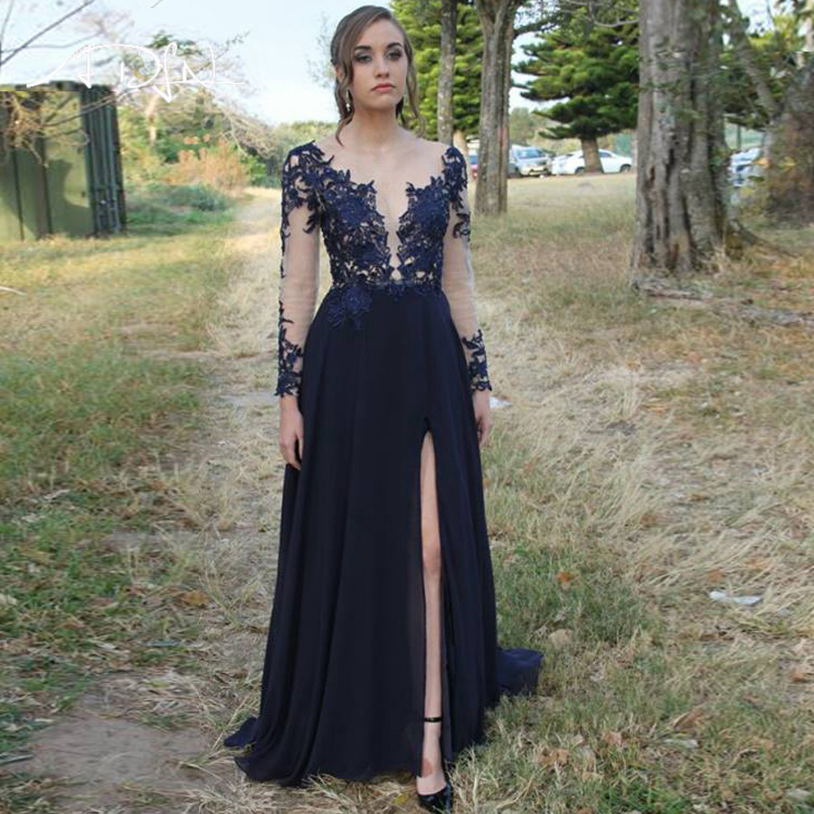 ADLN Sexy Chiffon   Prom     Dress   Long Sleeves Applique Backless Floor Length Party Evening   Dresses   with Side Slit   Prom   Gowns