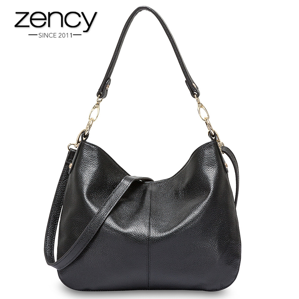 Zency 100% Genuine Leather Quality A+ Women Shoulder Bag Fashion Black Messenger Crossbody Purse Lady Hobos Grey Tote Handbags zency 100% genuine leather fashion grey women shoulder bag more compartments hobos lady crossbody messenger purse tote handbag