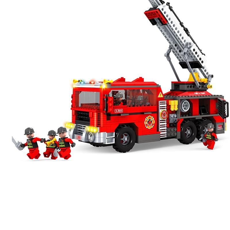 AUSINI Toys City Series Building Blocks DIY Fire Fighting Truck Bricks Sets Educational Toys For Kids Compatible City Toys decool 3114 city creator 3in1 vehicle transporter building block 264pcs diy educational toys for children compatible legoe
