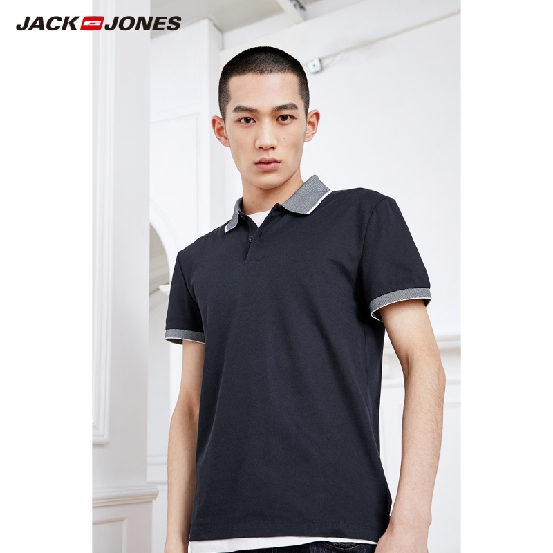 Jack Jones Men's Spring & Summer Cotton Contrasting Turn-down Collar Two-button Short-sleeved   Polo   shirt|219206501