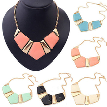 New Candy Color Collar Necklaces Pendants Fashion Statement Metal Choker Necklace For Women 2015 Vintage Jewelry Accessories