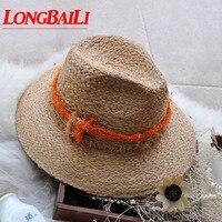Winter Fashion Wide Brim Women Raffia Straw Hats Female Sun Beach Caps Free Shipping PGFE030