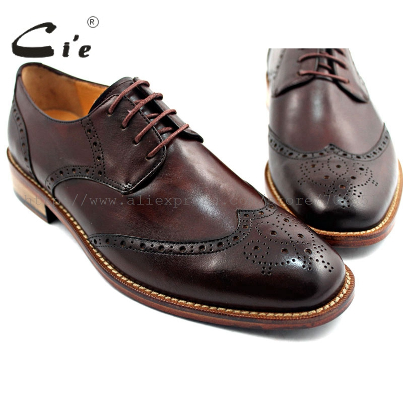 cie Round Toe Wider Mackay/Blake Bespoke Handmade 100%Genuine Calf Leather Outsole Breathable Men's Shoe Casual Derby Coffee D45 цены онлайн
