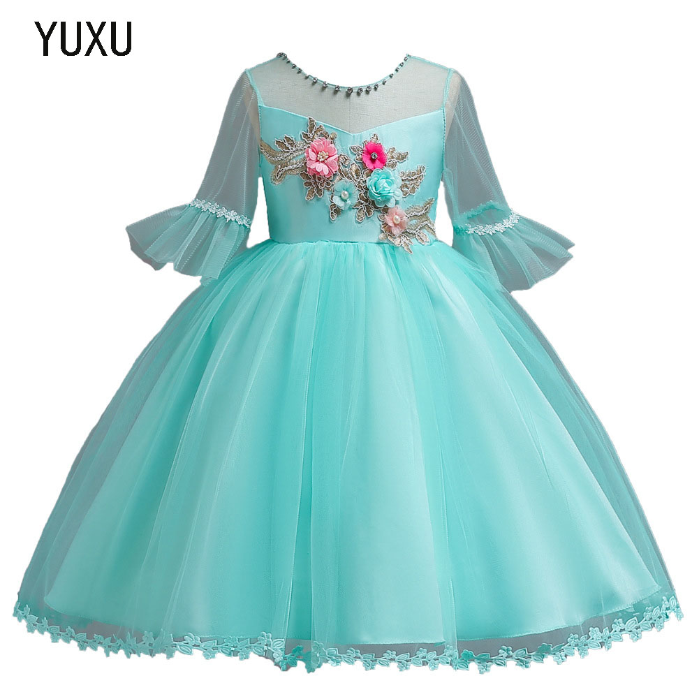 Flower Girl Lace appliques Dress Kids Dresses for Girl Princess Autumn Winter Party Ball Gown Children Christmas communion Wear цена