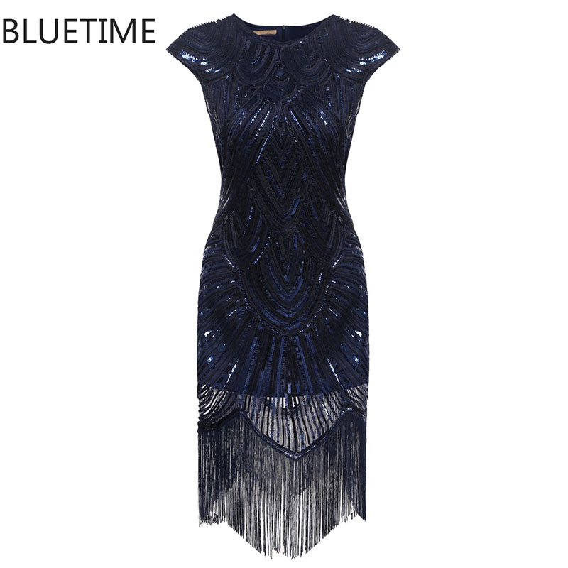 Buy Cheap BLUETIME Great Gatsby Dress Women Tassel Sequined Blue Party Dresses Ladies Summer Sexy Bodycon 1920s Retro Vintage Sundress 30A