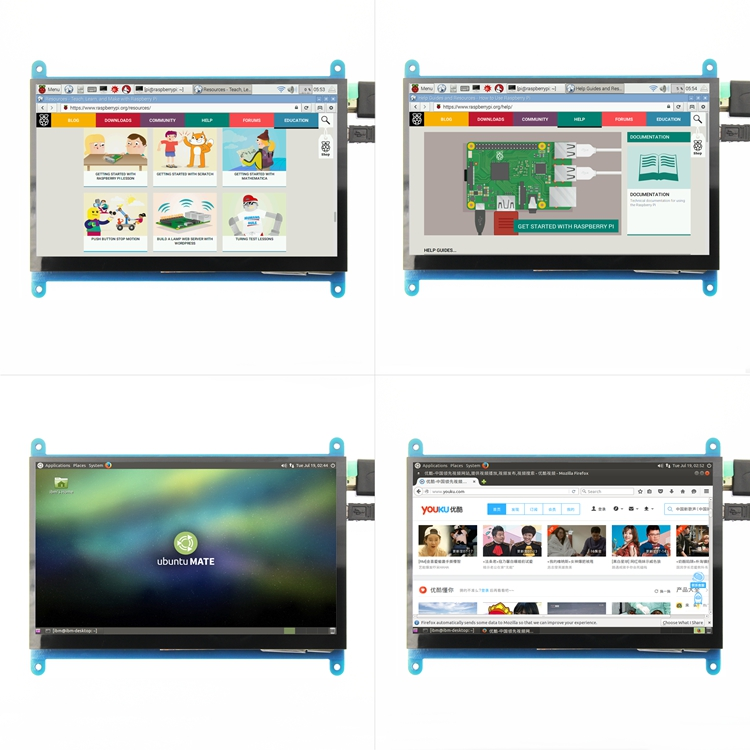 7 0 Raspberry Pi3 Display Capacitive Touch Screen HDMI HD LCD TFT 1024X600 800x480 Monitor for