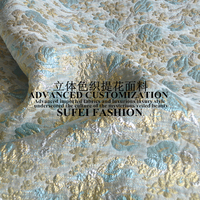 145cm wide blue golden thread floral jacquard fabric for spring and autumn dress jacket clothes S049