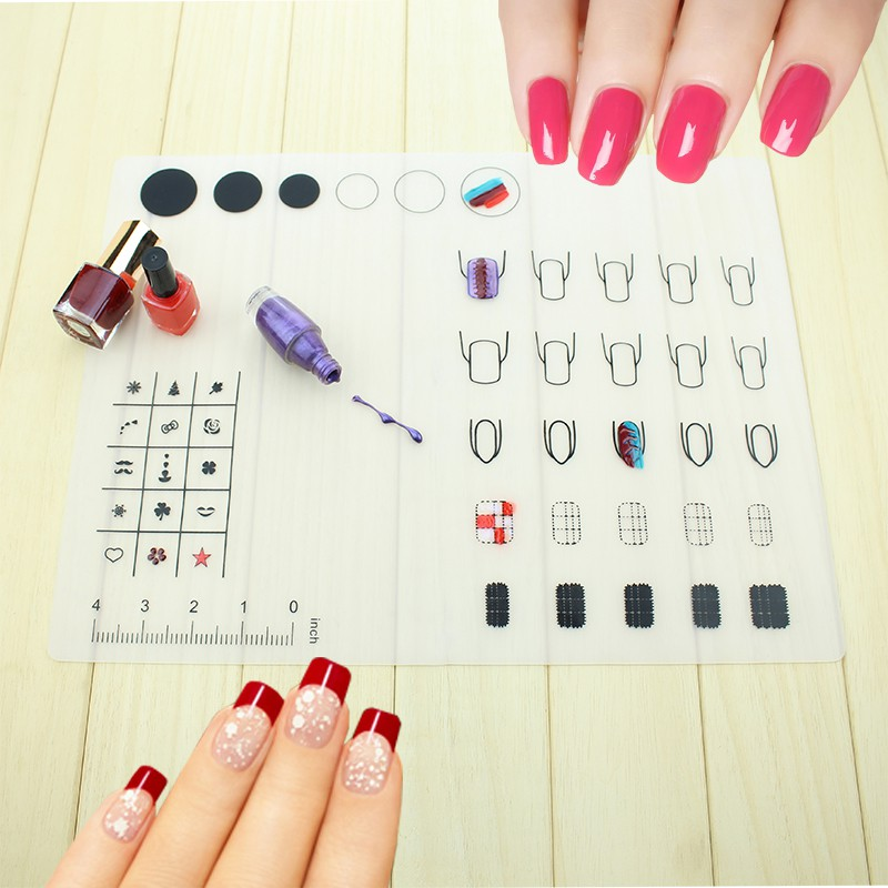 new silicone nail art stamping mat foldable nail art practice silicone coloring pad mat in nail. Black Bedroom Furniture Sets. Home Design Ideas