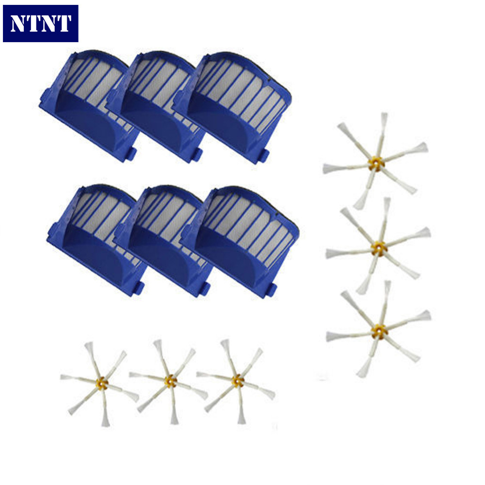 NTNT Free Post New 6 pack AeroVac Filter + Brush 6 armed for iRobot Roomba 500 600 Series 620 650 ntnt free post new 50x side brush 3 armed for irobot roomba 500 600 700 series 550 560 630 650 760