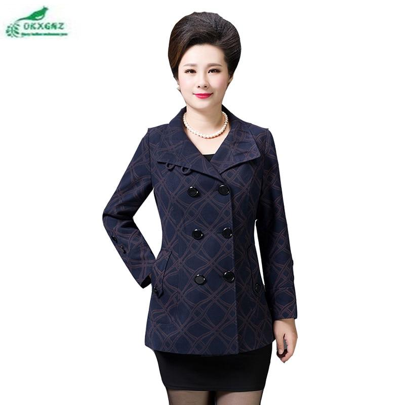 Autumn middle-aged women's mother-loaded coat new fashion large size jacket Outerwear female double-breasted windbreaker OKXGNZ