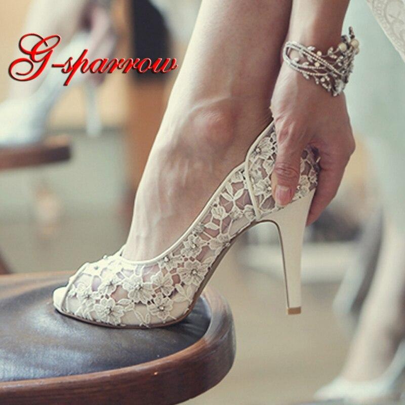 Bling Bling Blumen Hochzeit Schuhe Ziemlich Stunning Mit Hohen Absätzen Braut Kleid Schuhe Peep Toe Weiß Spitze Kristall Hand gefertigt Prom pumpen-in Damenpumps aus Schuhe bei  Gruppe 1