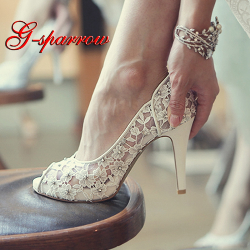 Bling Bling Flowers Wedding Shoes Pretty Stunning Heeled Bridal Dress Shoes Peep Toe White Lace Crystal Hand-crafted Prom Pumps fashion white lady peep toe shoes for wedding graduation party prom shoes elegant high heel lace flower bridal wedding shoes