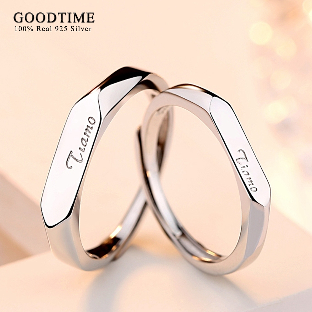 Couple Rings 925 Sterling Silver Jewelry Simple Style Wedding Band Rings Fashion Jewelry Rings For Women Men 1 Pair Opened Size men wedding band cz rings jewelry silver color anillos bague aneis ringen promise couple engagement rings for women