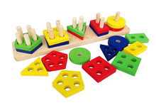 Free shipping fancy early childhood toys, wooden montessori would AIDS toys, Geometric shape matching Assembly blocks недорого