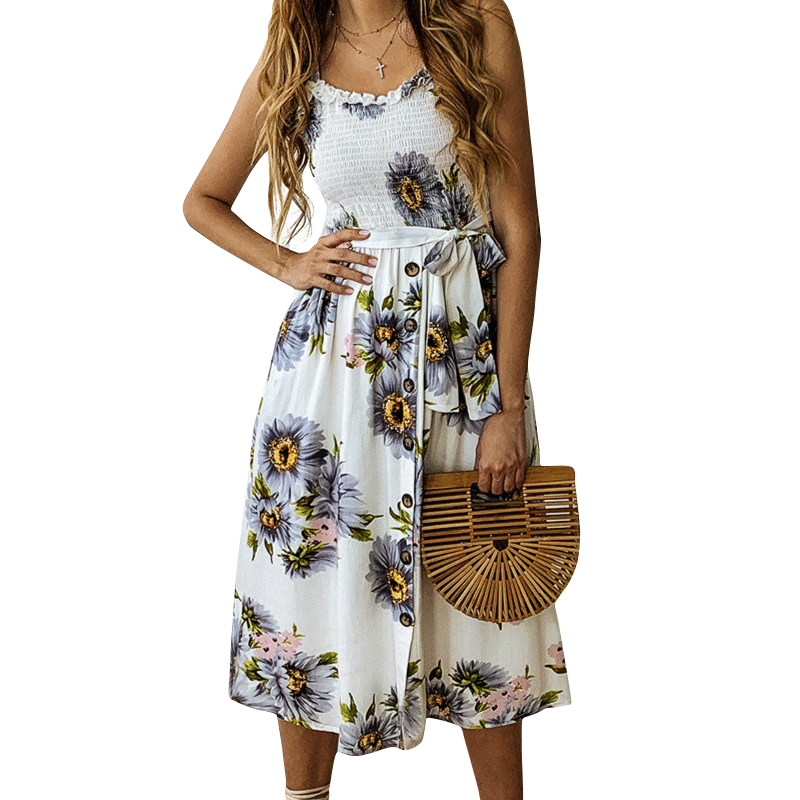ee52d79c58f 2019 Boho Summer Beach Dress Women Fashion Casual Sexy Backless Sashes  Floral Print Sunflower SunDress Plus Size Femme M0583