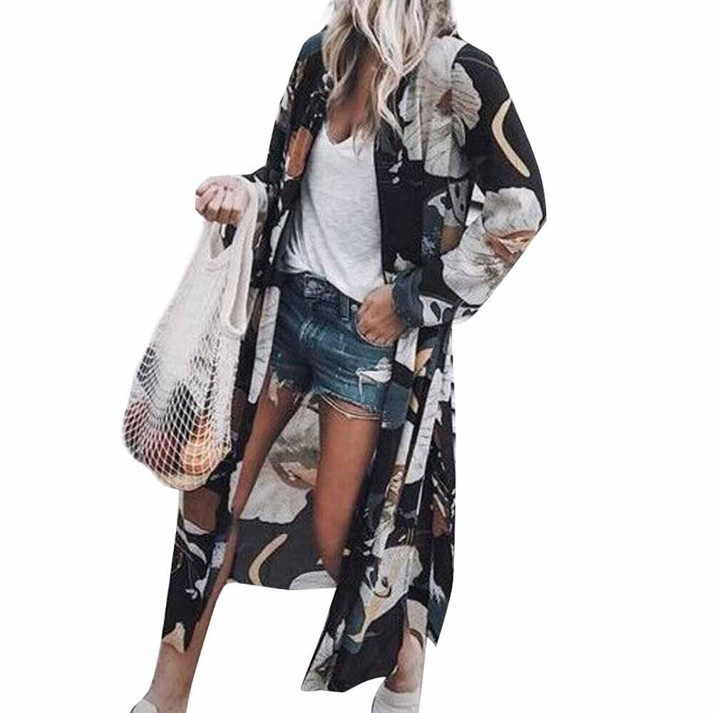 Womail 2018 Hot Sale Women Chiffon Lotus Print Long Coat Tops Suit Kimono Cover Beach Smock Bathing Suit Drop Shipping 2.MAY.28