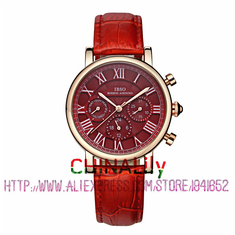 2015 Selling Brand IBSO BOERNI AIBISINO Unisex Ultra Thin Round Dial Analog Wrist Watch with Waterproof & Leather Band 6813 natate ibso women quartz watch crystal decorated large round dial analog wrist watch with waterproof woman leather band s3819