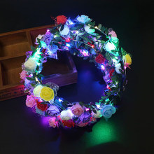 Weihnachten Party Glowing Kranz Halloween Crown Blume Stirnband Frauen Mädchen LED Licht Up Haar Kranz Haarband Girlanden DS19(China)