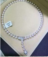 free shipping design classic 9 10mm round white pearl necklace 24