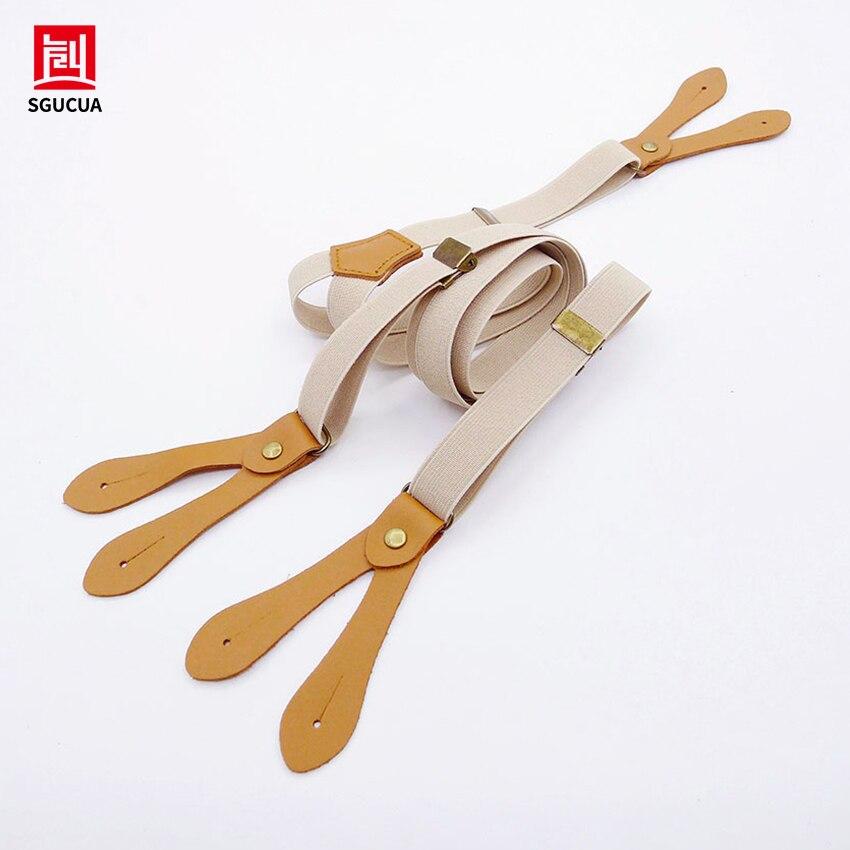 HOT SGUCUA British style buttons suspenders unisex Fresh Khaki suspenders for men and women braces straps width 2CM