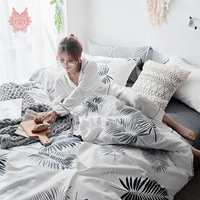 Ins fashion Cotton bedding set black white geometric duvet cover set fitted sheet type jogo de cama for 150cm 180cm bed SP5332