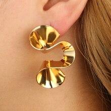 VAROLEV Trendy Heperbole Spiral Dangle Earrings for Women Punk Antique Gold Color Drop Earrings Jewelry Accessories 4382