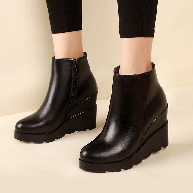 2019 autumn winter soft leather platform high heels girl wedges ankle boots shoes for woman fashion boots women Size 34-40