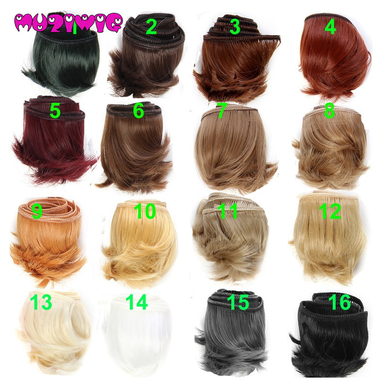 1pieces Extension Doll Wigs 15*100cm Natural Color Curly Doll Hair For BJD SD Russian Handmade Doll Wigs