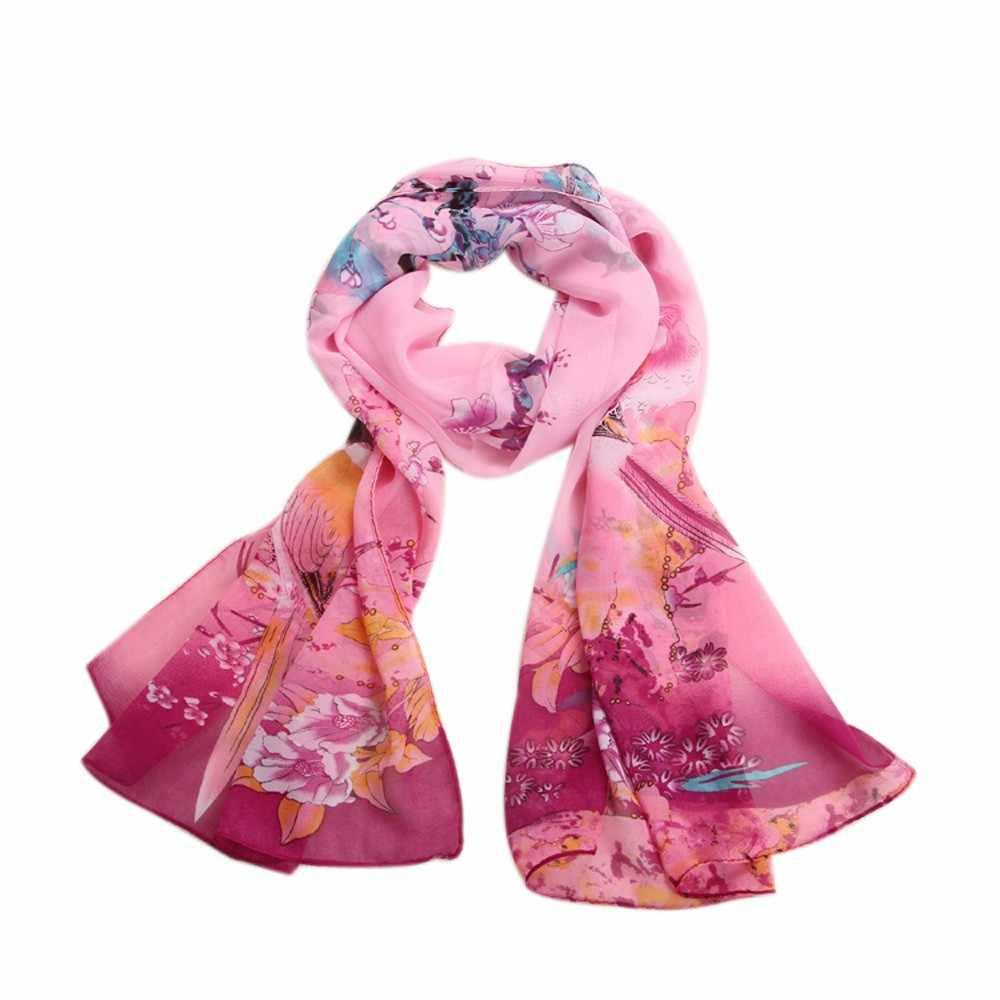 新しい春のスカーフファッションカササギプリムラプリント Scarve シフォンソフトネックスカーフショールスカーフラップ