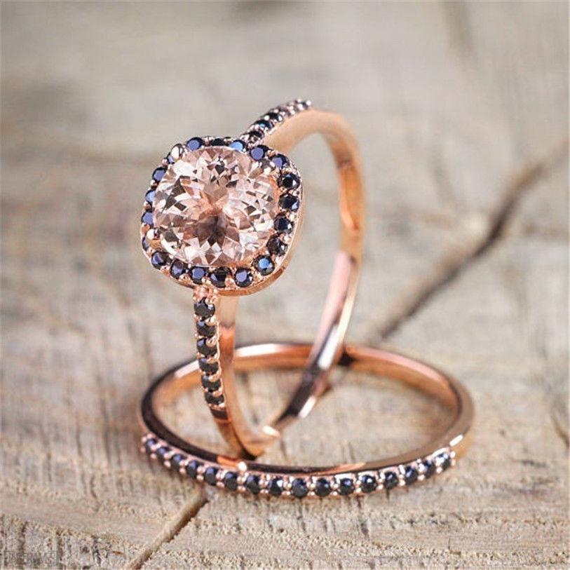 14k Rose Gold Diamond Ring natural Black Obsidian Gemstone Anillos Bizuteria for Women bijoux femme bague anel gold diamond ring