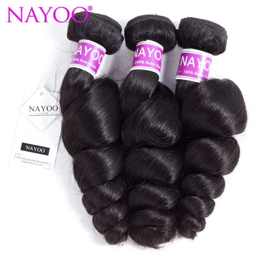 NAYOO Hair Products Peruvian Loose Wave Remy Hair Bundles 8-26 Natural Color 100% Human Hair Weave Extensions