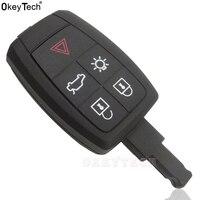 OkeyTech Ersatz Fernbedienung Auto Schlüssel Shell Fall Fob 5 Taste für Volvo XC90 C70 S60 D5 V50 S40 C30 Uncut blank Klinge Ohne Logo
