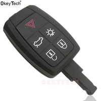 OkeyTech Replacement Remote Car Key Shell Case Fob 5 Button for Volvo XC90 C70 S60 D5 V50 S40 C30 Uncut Blank Blade Without Logo
