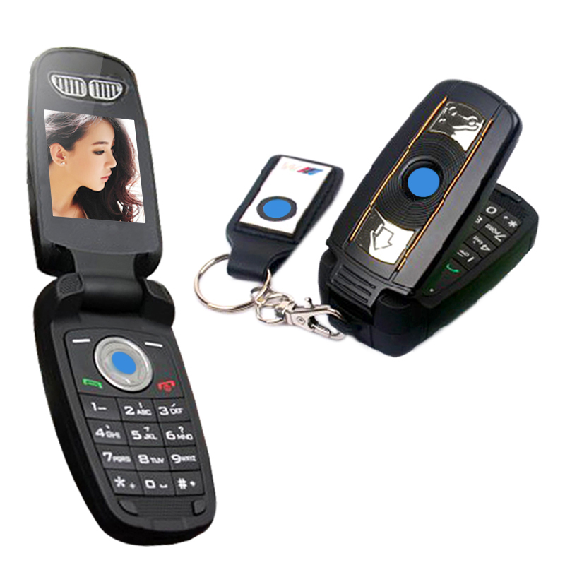Unlocked Ulcool V1 X6 Super Small Flip Quad-bands Supercar Special Mini Mobile Cell Phone Car Key image