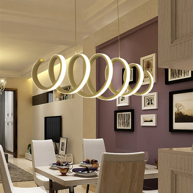 Waves ring led pendant lights creative restaurant smart living room bedroom study bar acrylic led pendant