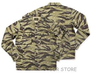 Image 4 - 비 재고 골든 타이거 카모 셔츠 빈티지 군사 타이거 스트라이프 전투 피로 유니폼 재킷