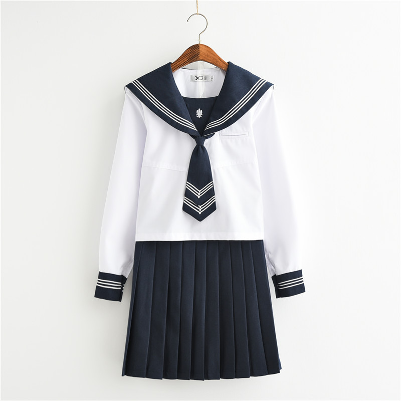 New Arrival Japanese Long Sleeve Sailor Suits School Girl Uniform College Middle High School Students Uniforms Jk Cosplay Female