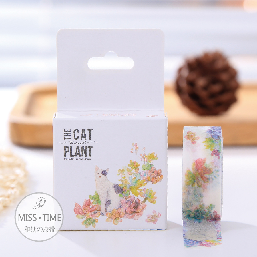 New diy japanese paper masking washi tapes beautiful cat for Adhesive decoration