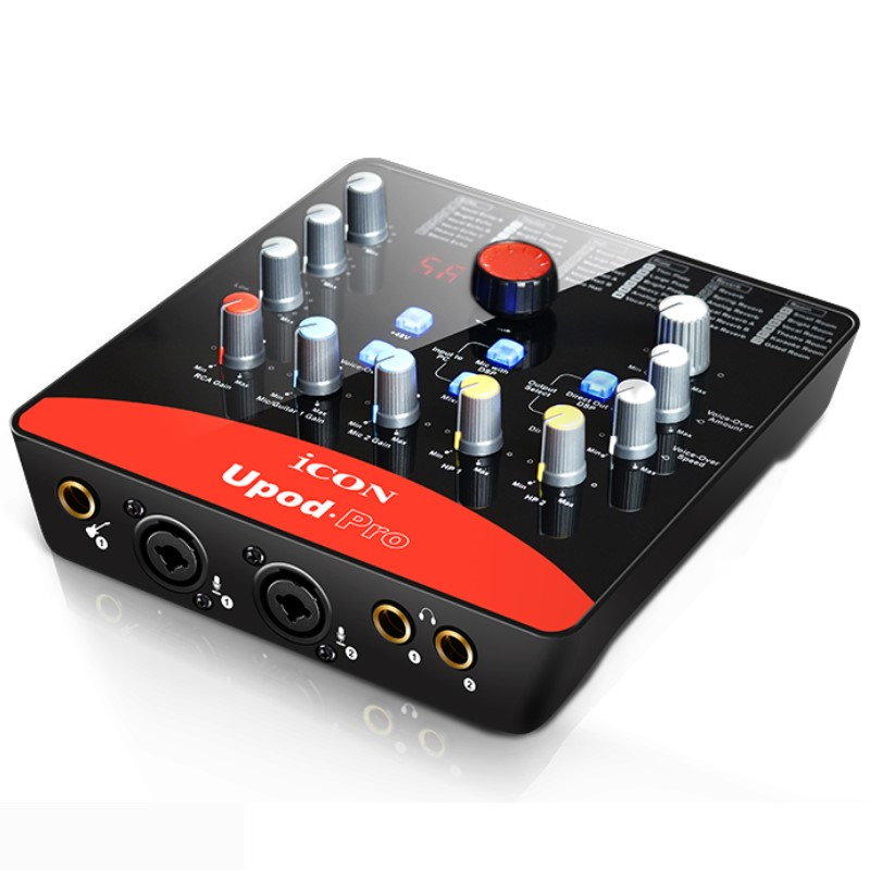 ICON upod pro Professional external sound card 2 mic-In/1 guitar-In, 2-Out USB Recording Interface 48V phantom power equipped