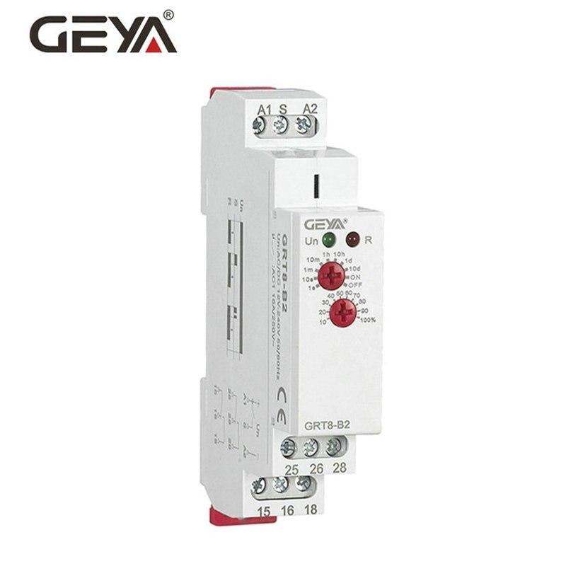 Trilho Din Mini Interruptor de Atraso OFF Relé Temporizador GRT8-B Ajustável 16A AC230V ou AC/DC12-240V Atraso Relé de Tempo com CE CB