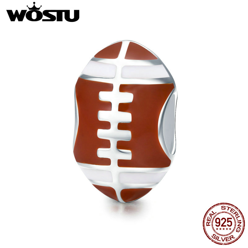 WOSTU 100% 925 Sterling Silver American Football Sport Ball Rugby Rugger Charm Beads Fit Charm Bracelet DIY Jewelry CQC442