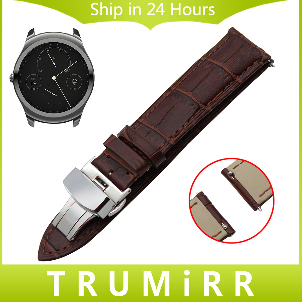 20mm 22mm Quick Release Watch Band Genuine Leather Strap for Ticwatch 1 46mm 2 42mm Butterfly Clasp Belt Wrist Bracelet
