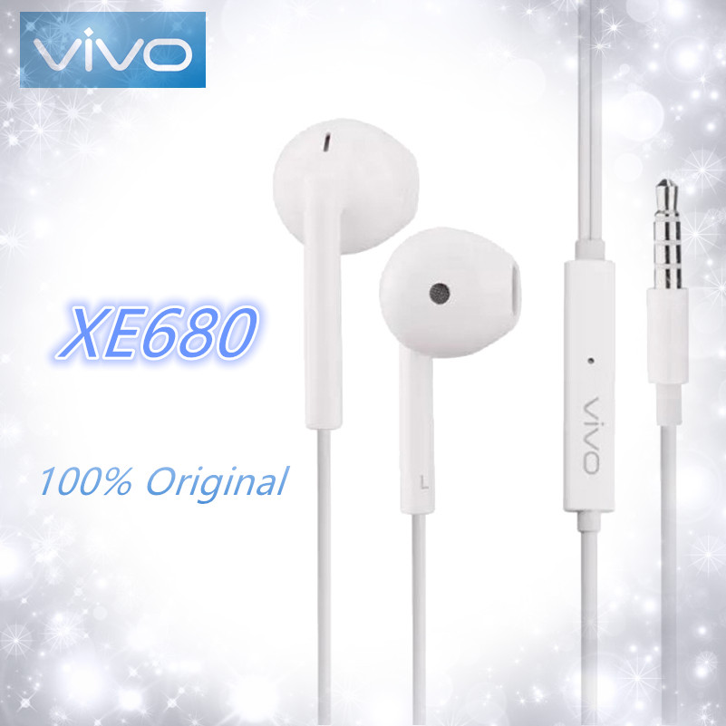 VIVO Original XE680 Headsets In-Ear With Storage Box 3.5mm Plug Wire Controller Earphone For VIVO X21 X20 X23 X7 X9plus Xplay6