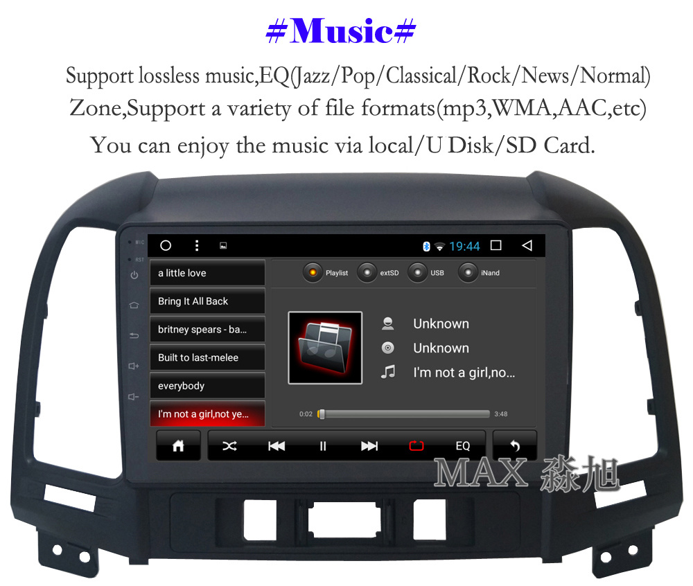 Perfect MAX Android 8.1 2G 32G 8 Core Car DVD Player for Hyundai santa fe 3/4holes with 2.5D+IPS Screen car stereo radio RDS Maps swc 5