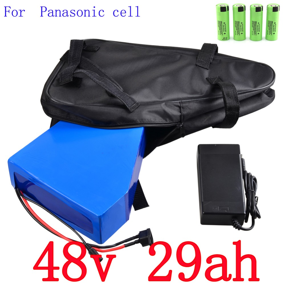 High quality 48V 29AH 2000W electric bike battery 48V 29AH triangle lithium battery use Panasonic 2900mah cell 50A BMS Free bag free customs taxes super power 1000w 48v li ion battery pack with 30a bms 48v 15ah lithium battery pack for panasonic cell